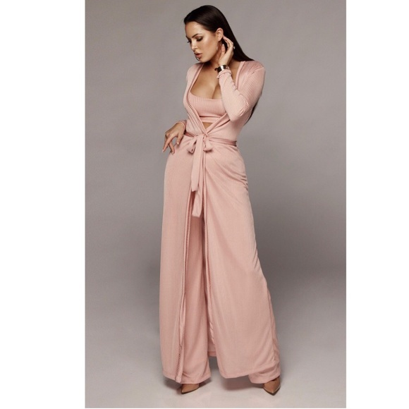 372c18d75c Jlux Label Tops - Pink Prosecco Belted Duster   Crop Top